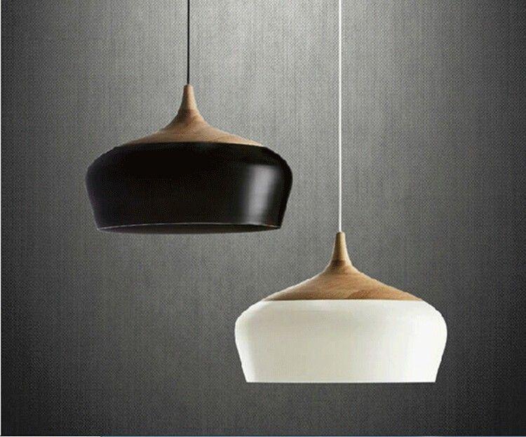Moderne hanglampen Hout en aluminium lamp zwart/wit restaurant bar ...
