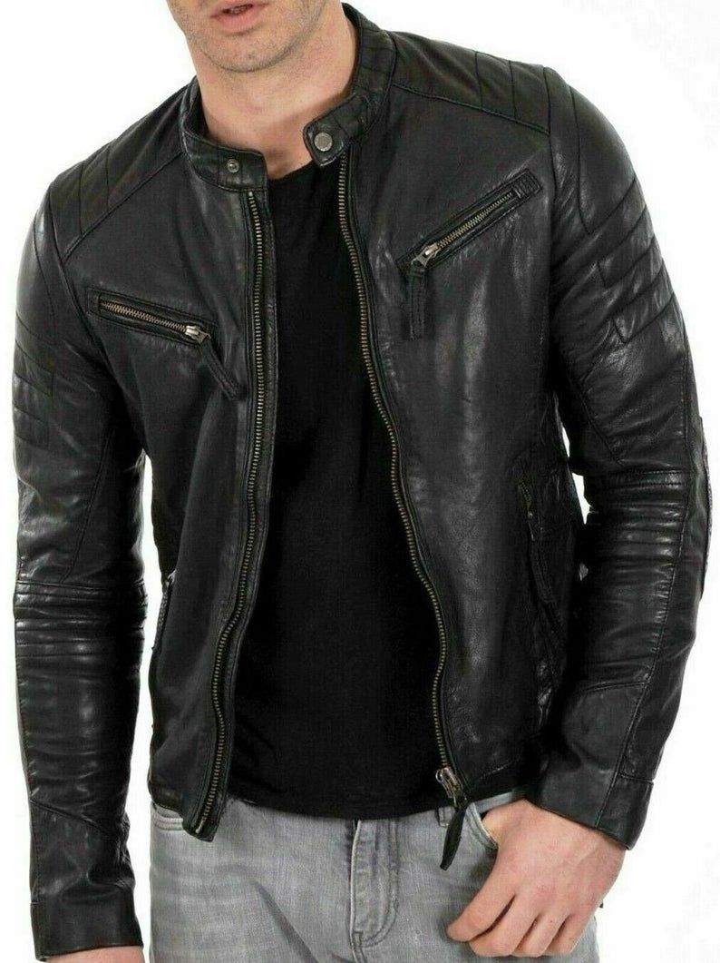 Mens Cafe Racer Fashion Biker Stylish Real Genuine Hand Made Etsy Fitted Biker Jacket Casual Leather Jacket Leather Jacket Men [ 1061 x 794 Pixel ]