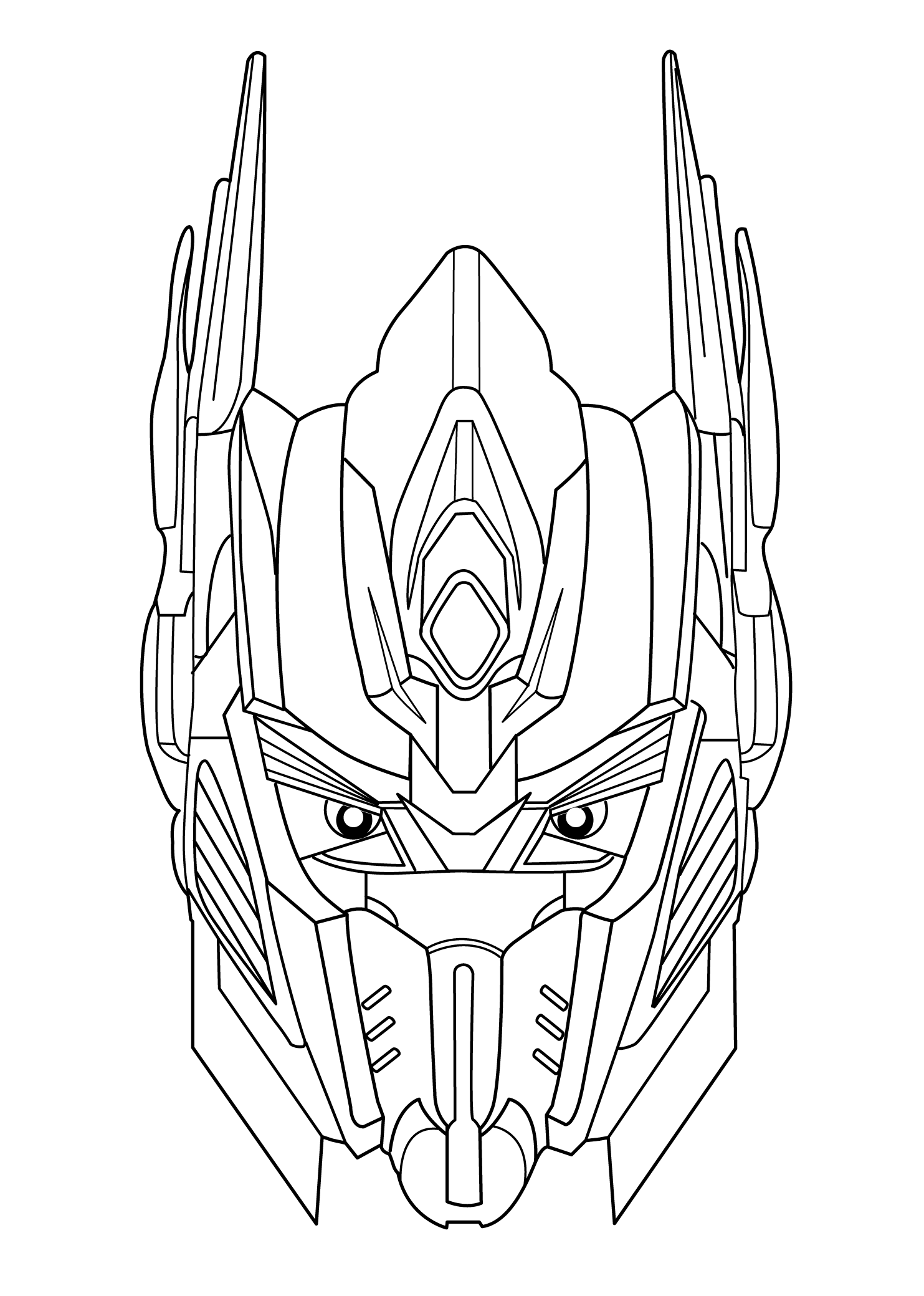 coloring pages for kids - Optimus Prime Face Coloring Pages