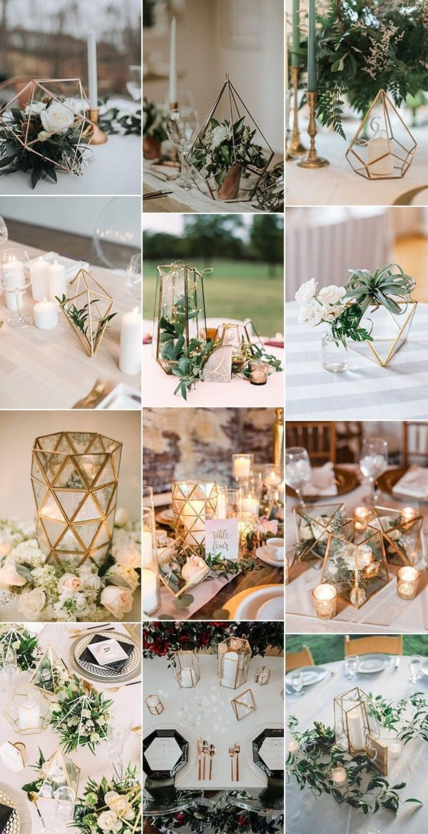 Trending – 20 Industrial Geometric Wedding Centerpieces for 2019 - #Centerpieces #geometric #industrial #Trending #Wedding #hochzeitsdeko