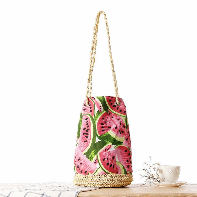 319ab33c3 Women's Tassel Straw Beach Bag Summer Flowers Watermelon Woven Bucket  Casual Bag
