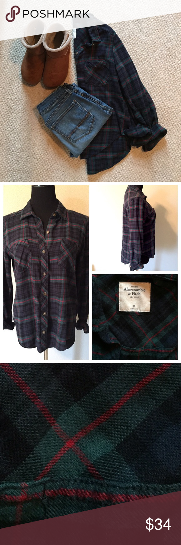 Flannel shirt black  Great flannel shirt Greenblack with red stripes  My Posh Picks