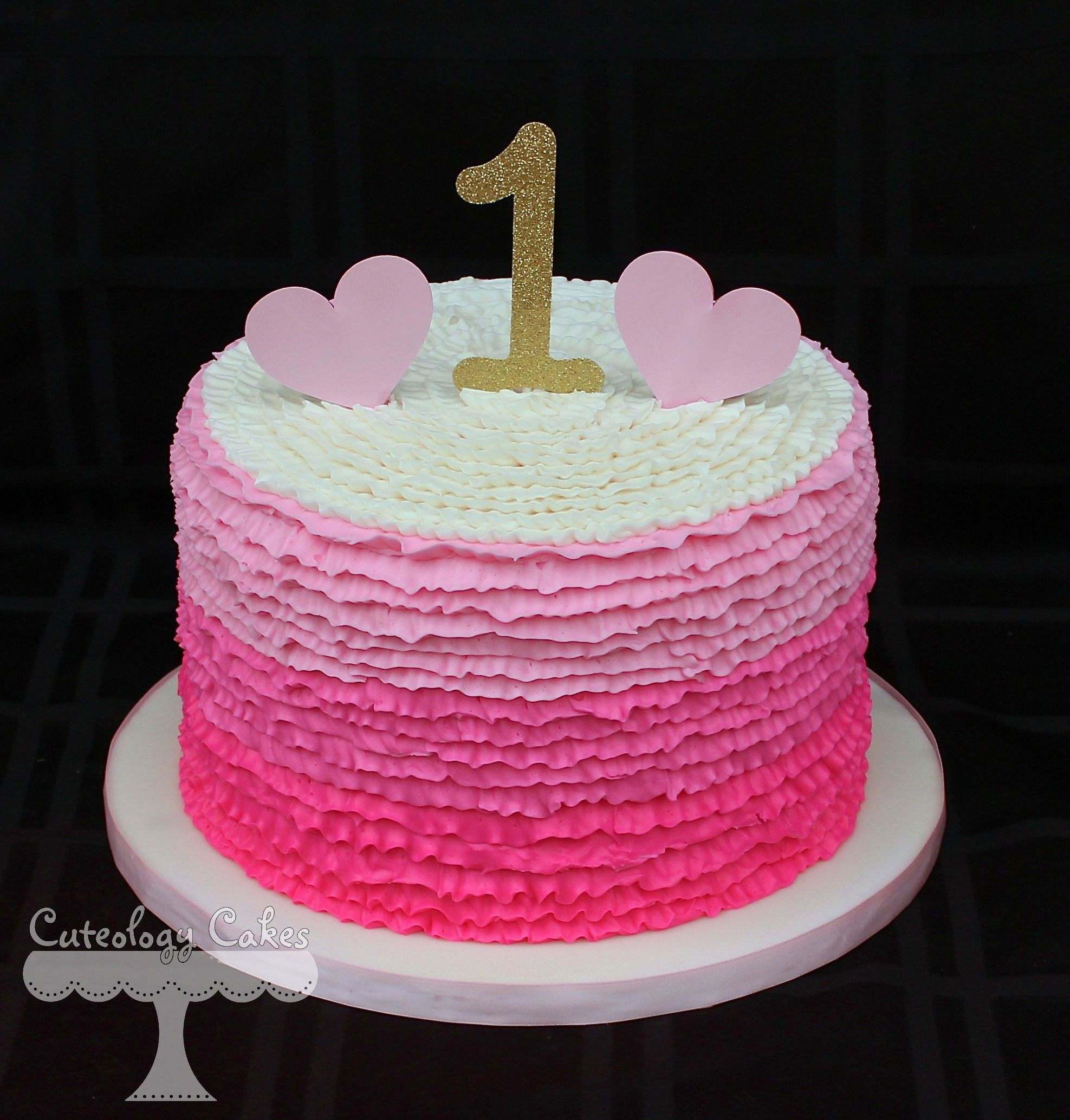 Ombre Ruffle Cake With Buttercream Frosting Gold One Topper With