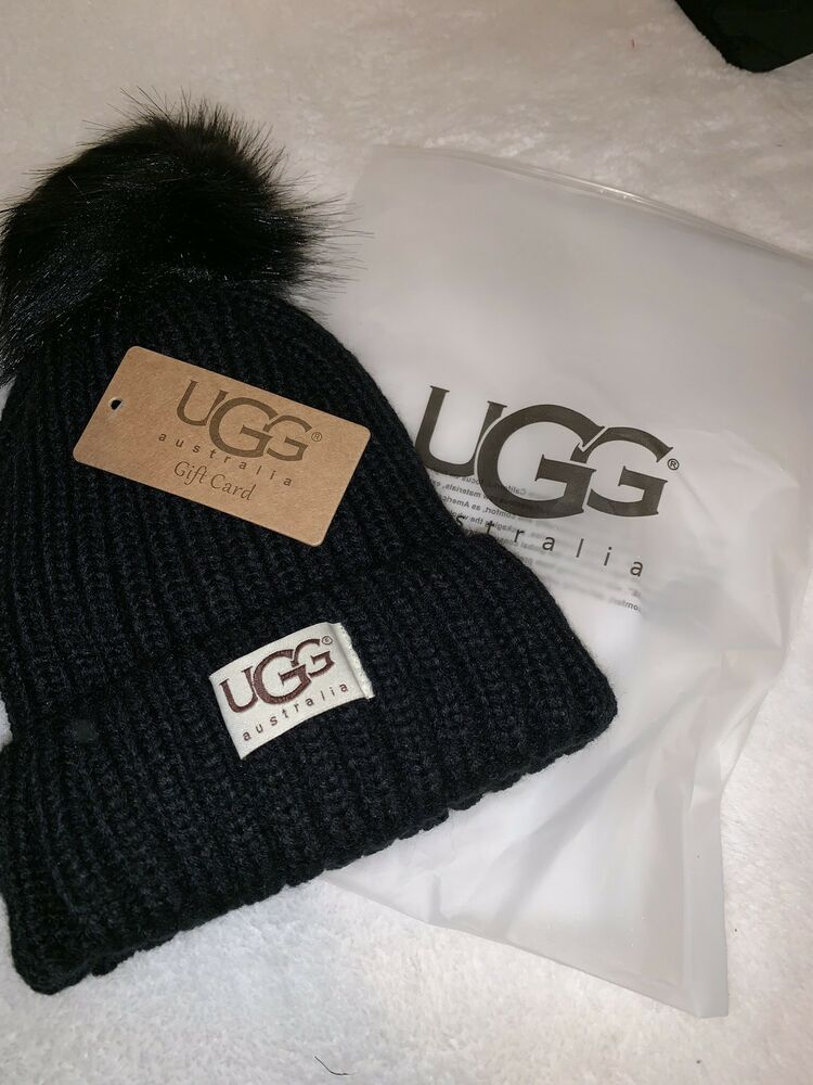 8c89bf36510 UGG Black Womens Solid Ribbed Fleece Lined Winter Pom Pom Beanie Hat   fashion  clothing  shoes  accessories  womensaccessories  hats (ebay link)