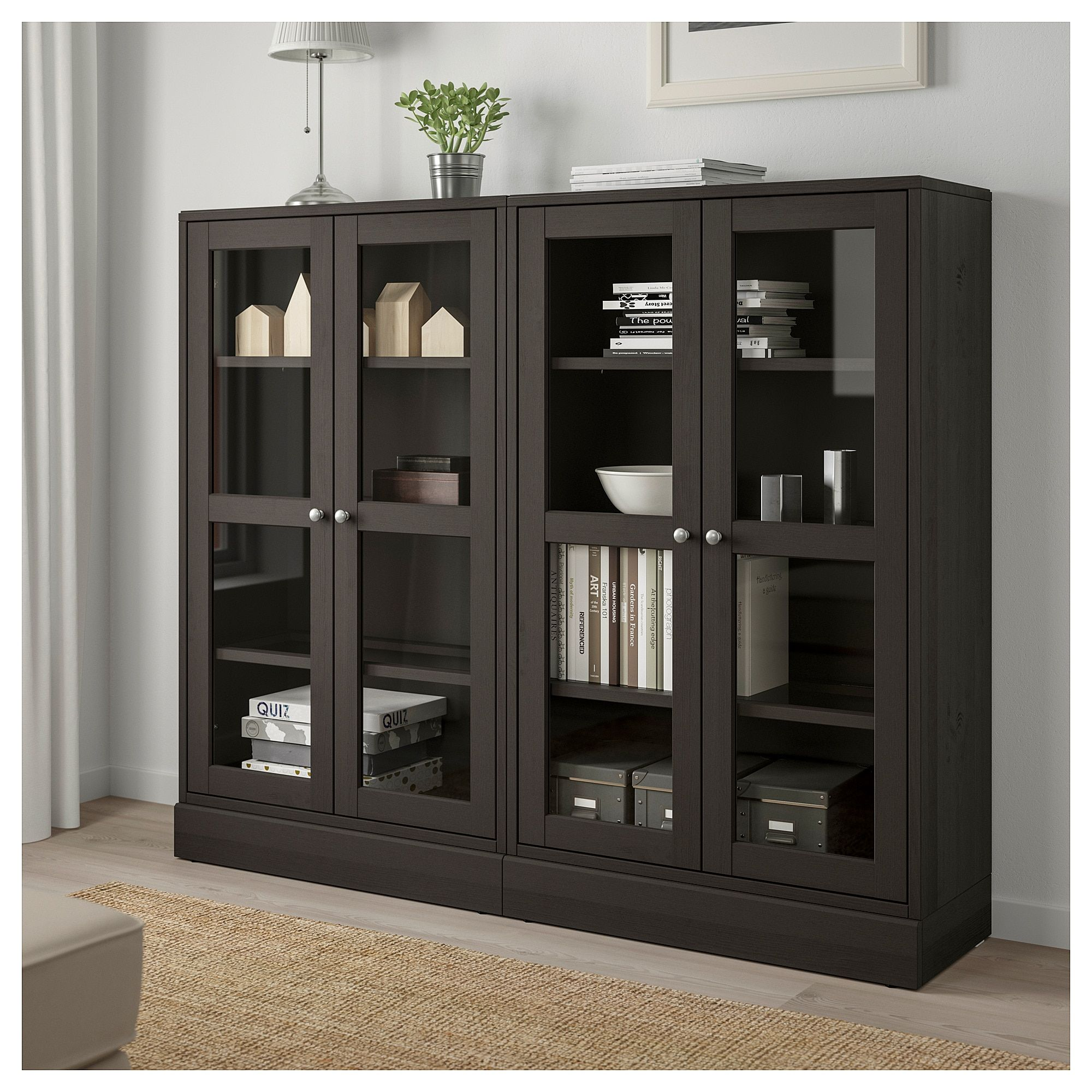 Ikea Storage Cabinets Ikea Havsta Storage Combination W Glass Doors Dark Brown In 2019