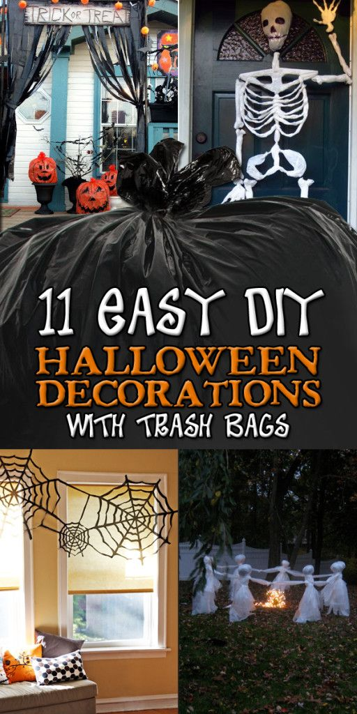 11 Easy DIY Halloween Decorations With Trash Bags Rubbish bag - how to make homemade halloween decorations