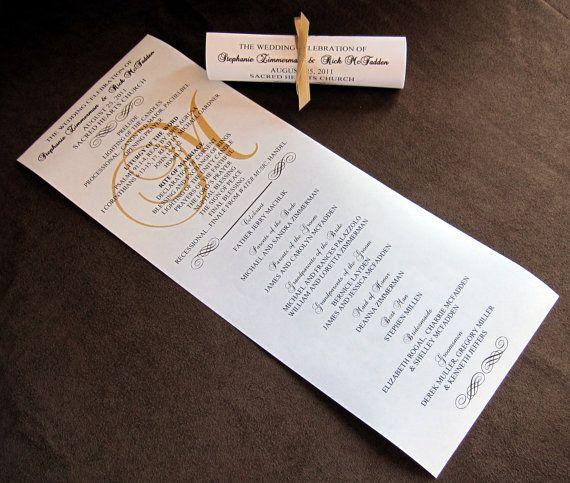 double sided mini scroll wedding programs wedding programs