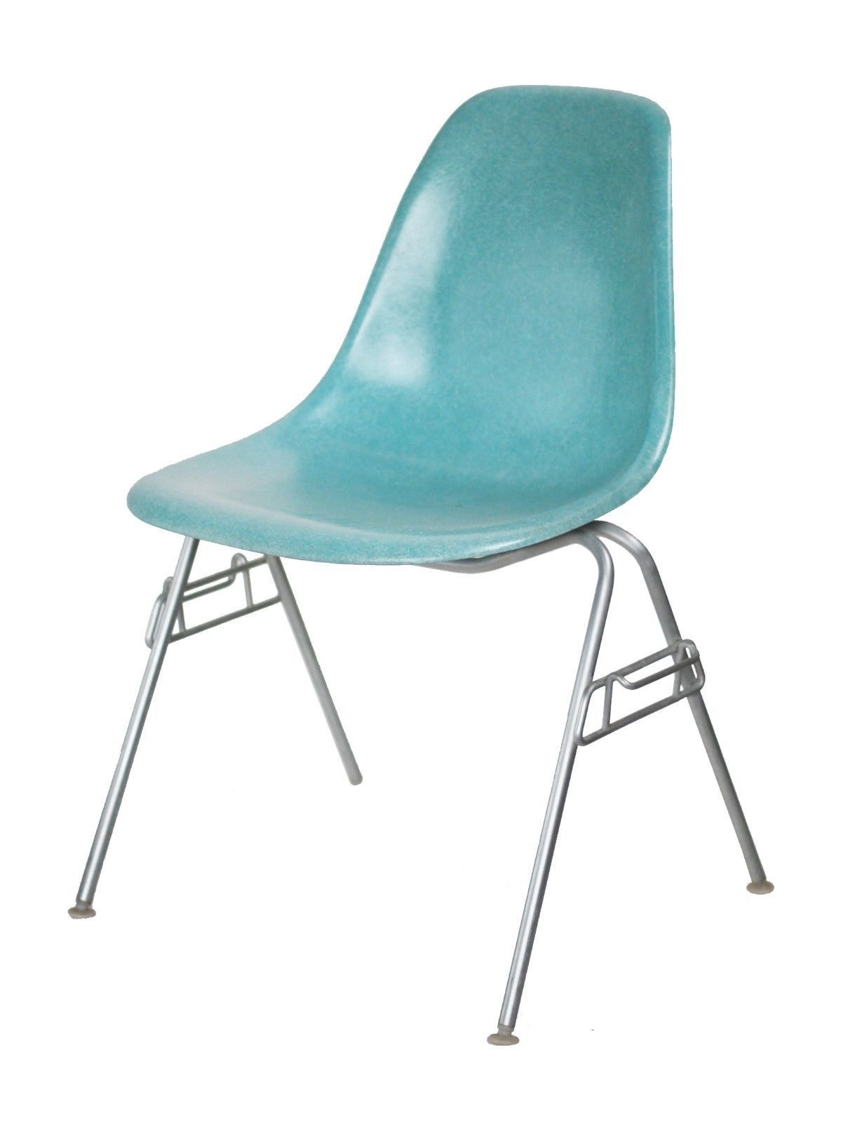 Vintage Eames Herman Miller Eames Side Shell Chair In Turquoise