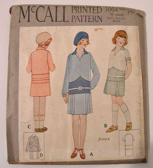 McCall 1920s Girls Pattern Slip on Dress 5004 Uncut Antique Vintage ...