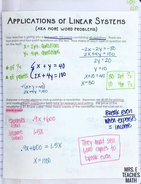 Systems Of Linear Equations Word Problems Inb Page Math Words