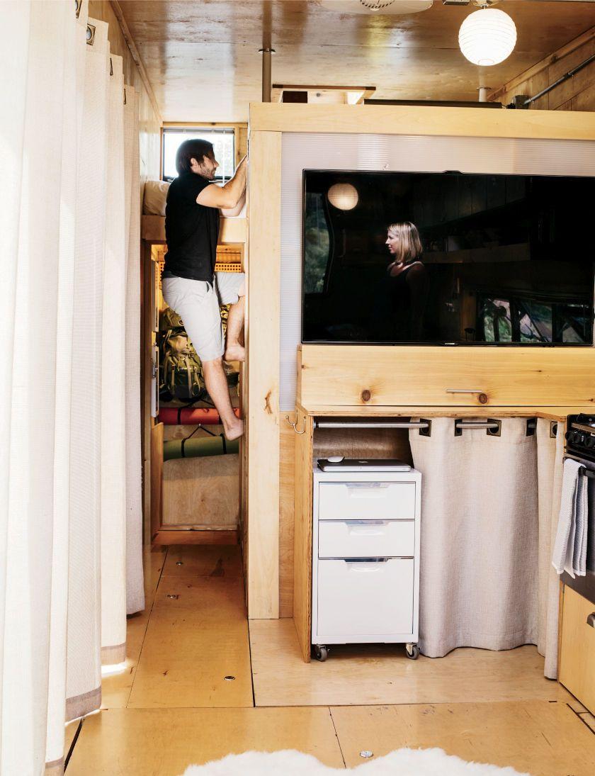 Woody Trailer Tiny Kitchen TV