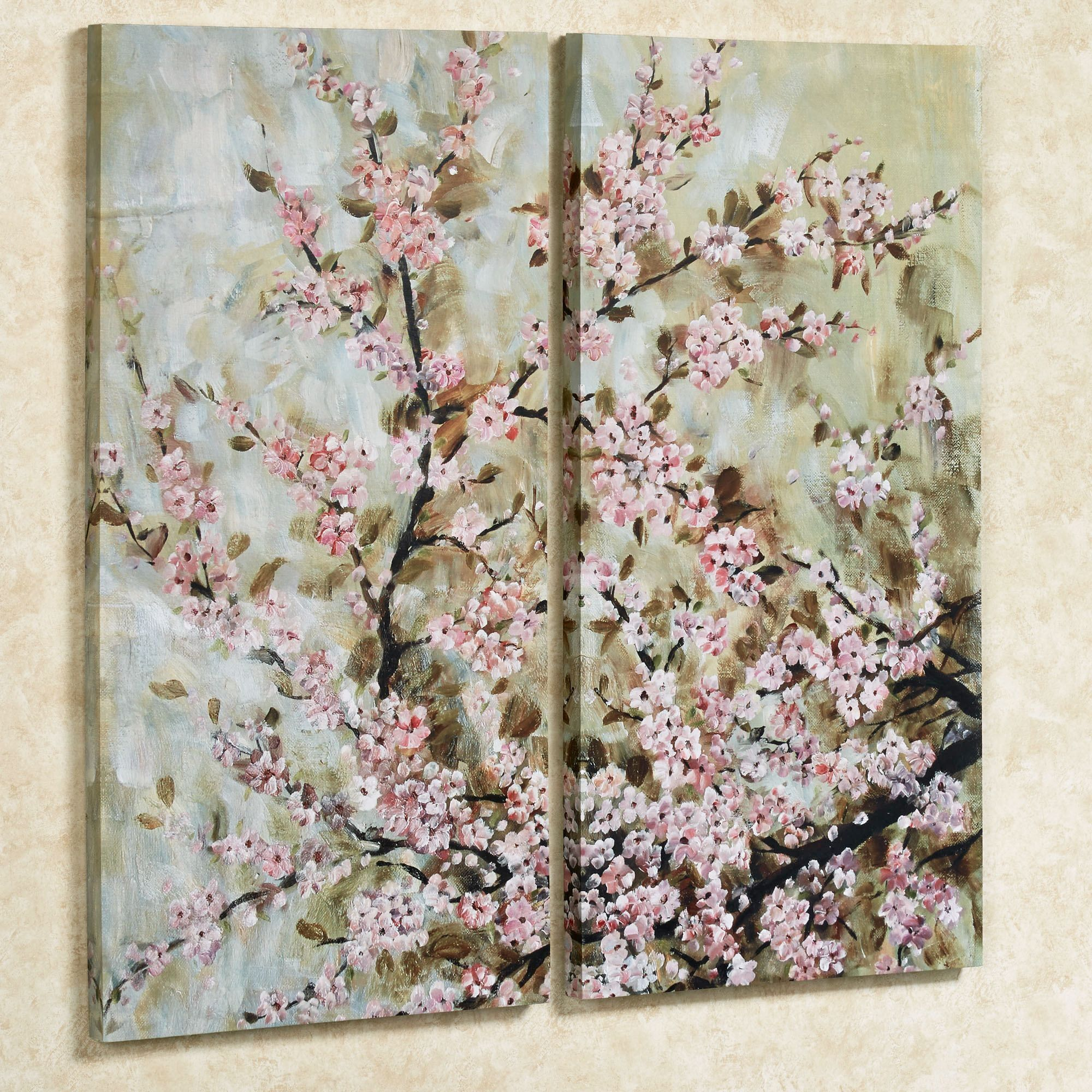 Cherry Blossom Floral Canvas Wall Art Set