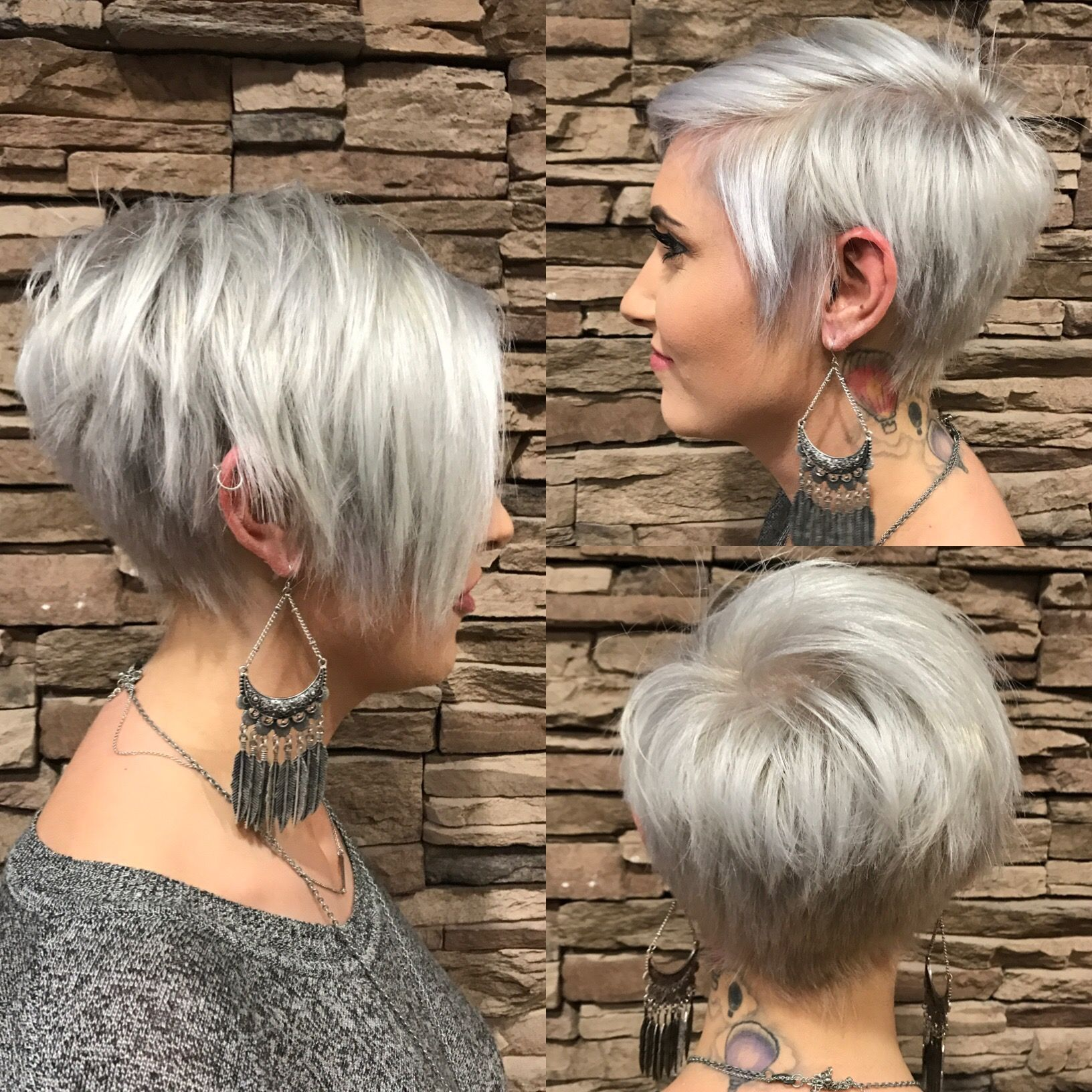 Long pixie with bangs silver my style pinterest long pixie
