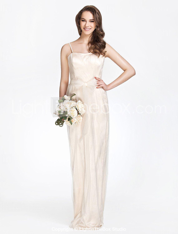 B: Spaghetti Straps Sheath/Column Floor-length Tulle Over Charmeuse Bridesmaid Dress - USD $ 129.99
