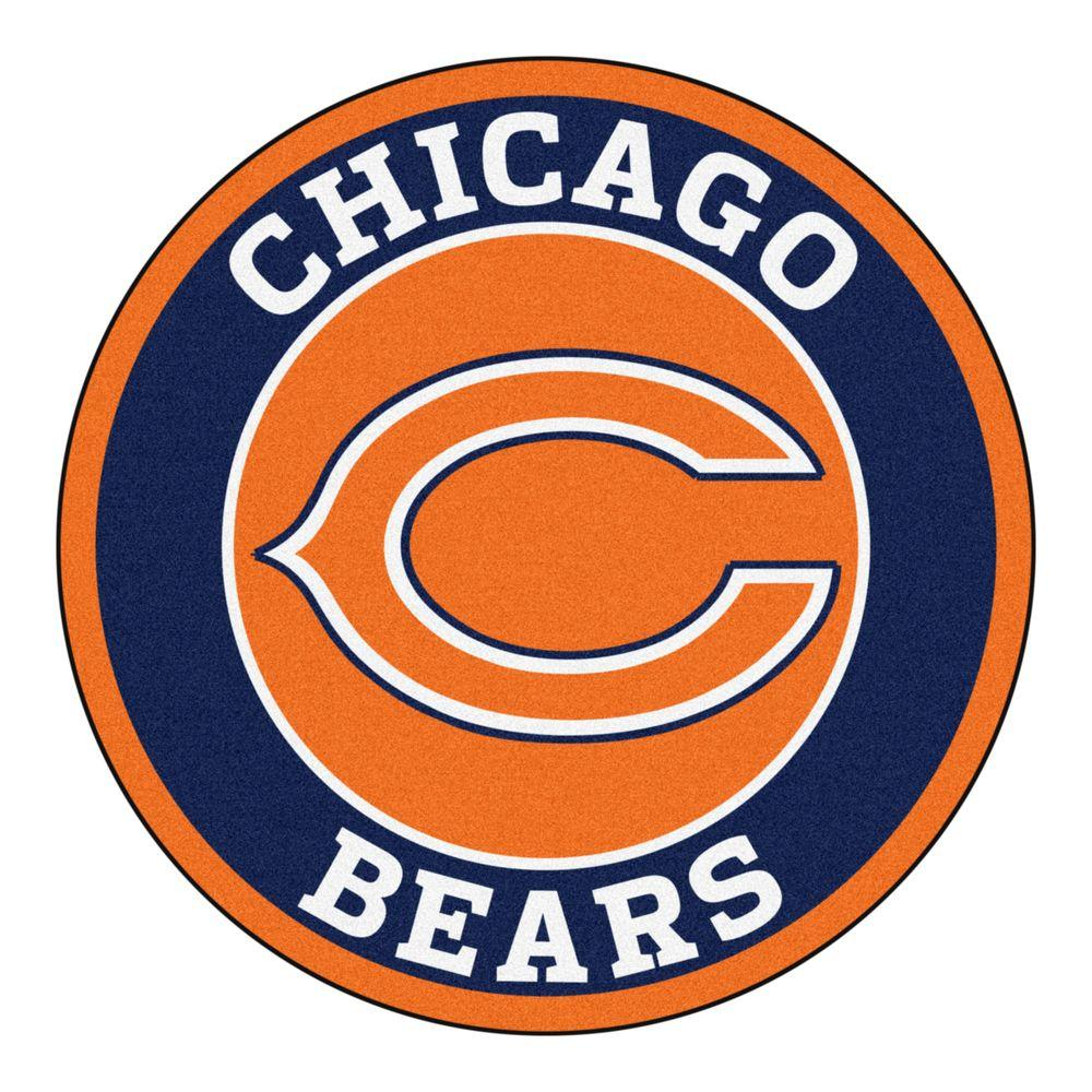 Fanmats Nfl Chicago Bears Navy 2 Ft X 2 Ft Round Area Rug 17954 The Home Depot In 2020 Chicago Bears Chicago Bears Logo Nfl Chicago Bears