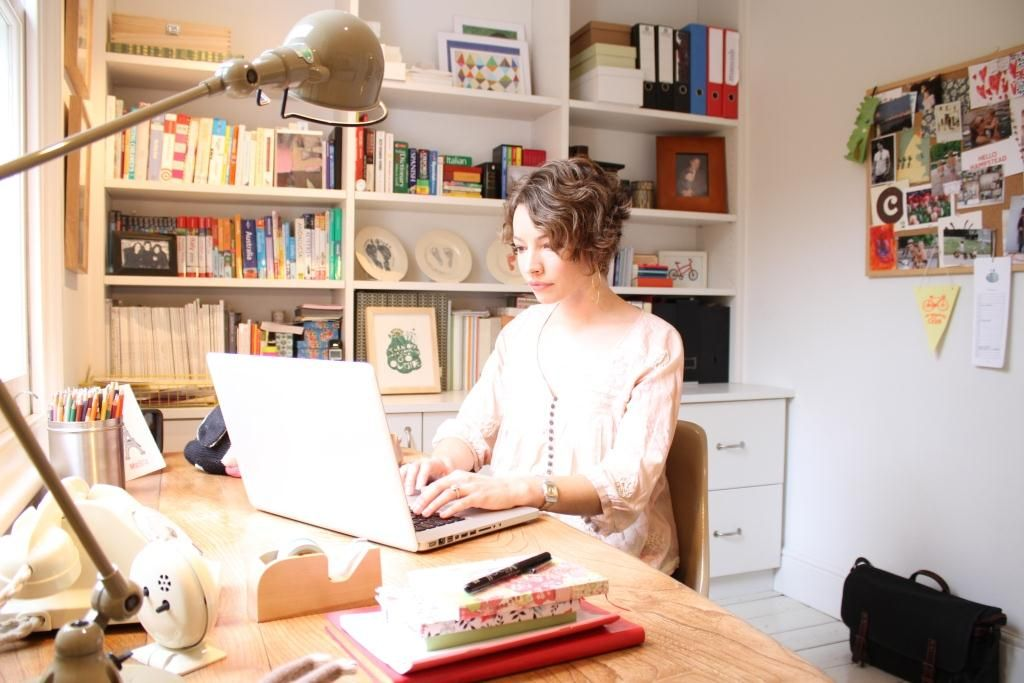 Courtney Adamo's lovely workspace    i love her beautiful home & family!
