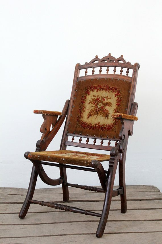 Victorian Folding Chair / Antique Tapestry Chair by 86home on Etsy, $600.00 - Victorian Folding Chair / Antique Tapestry Chair By 86home On Etsy