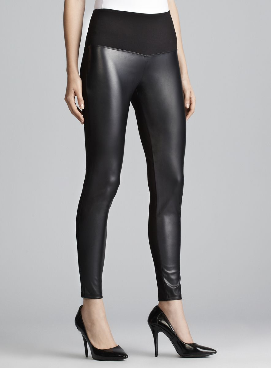 c0fc0632e1aee Athena Marie - Faux Leather Front Tummy Control Legging www.loehmanns.com  $34.99