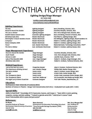 Performing Arts Series Resumes Jan 26 Sample Resume