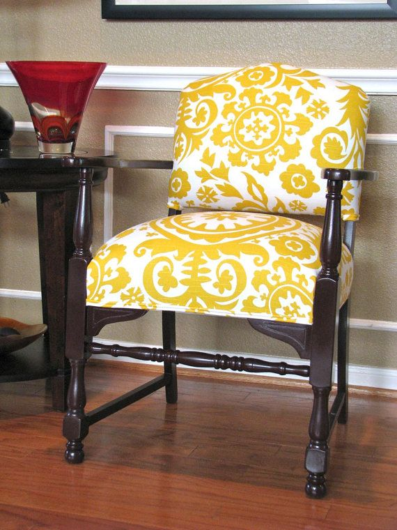 Accent Chair Upholstered In Suzani Fabric  by parsonsparlor on Etsy www.parsonsparlor.com