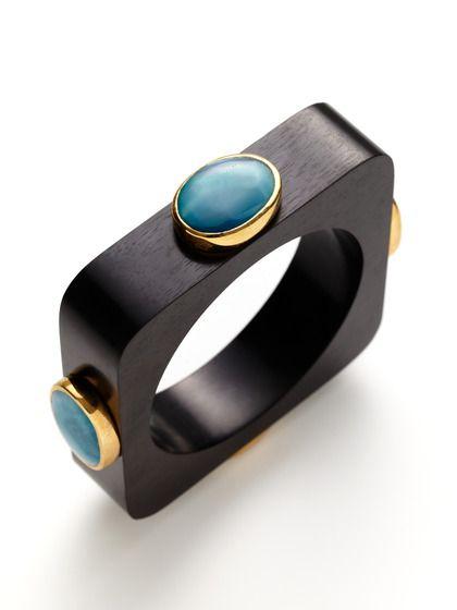 Ebony & Druzy Square Bangle Bracelet by Isharya on Gilt.com