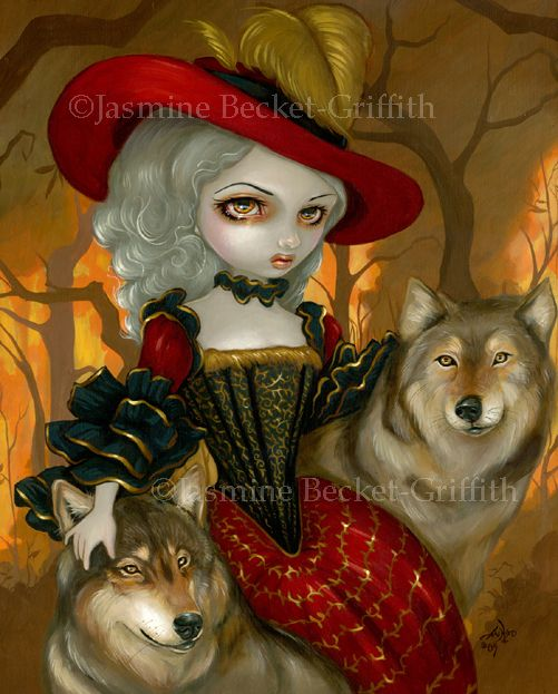 """From its Dragon*Con 2009 debut - in my """"Loup-Garou"""" series, here we have """"Loup-Garou: d'Automne"""". Loup-Garou is French for werewolf, and my Loup-Garou series features wolves in historically French settings, Rococo, etc. This Rococo beauty in a gorgeous dress & hat wanders through an autumn background with her wolf companions. The autumn leaves are flamingly bright - maybe even on fire? You decide! It is my favourite yet in the series. Made from my own original acrylic painting."""