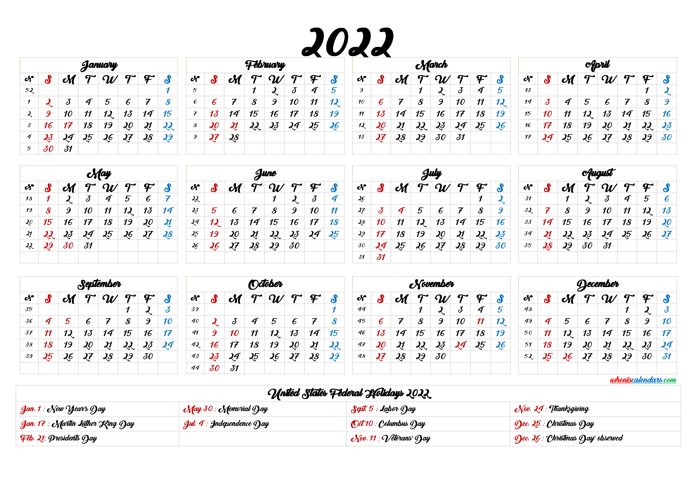 Download free printable 2022 monthly calendar with week numbers. 20+ 2022 Calendar With Holidays Printable - Free Download ...