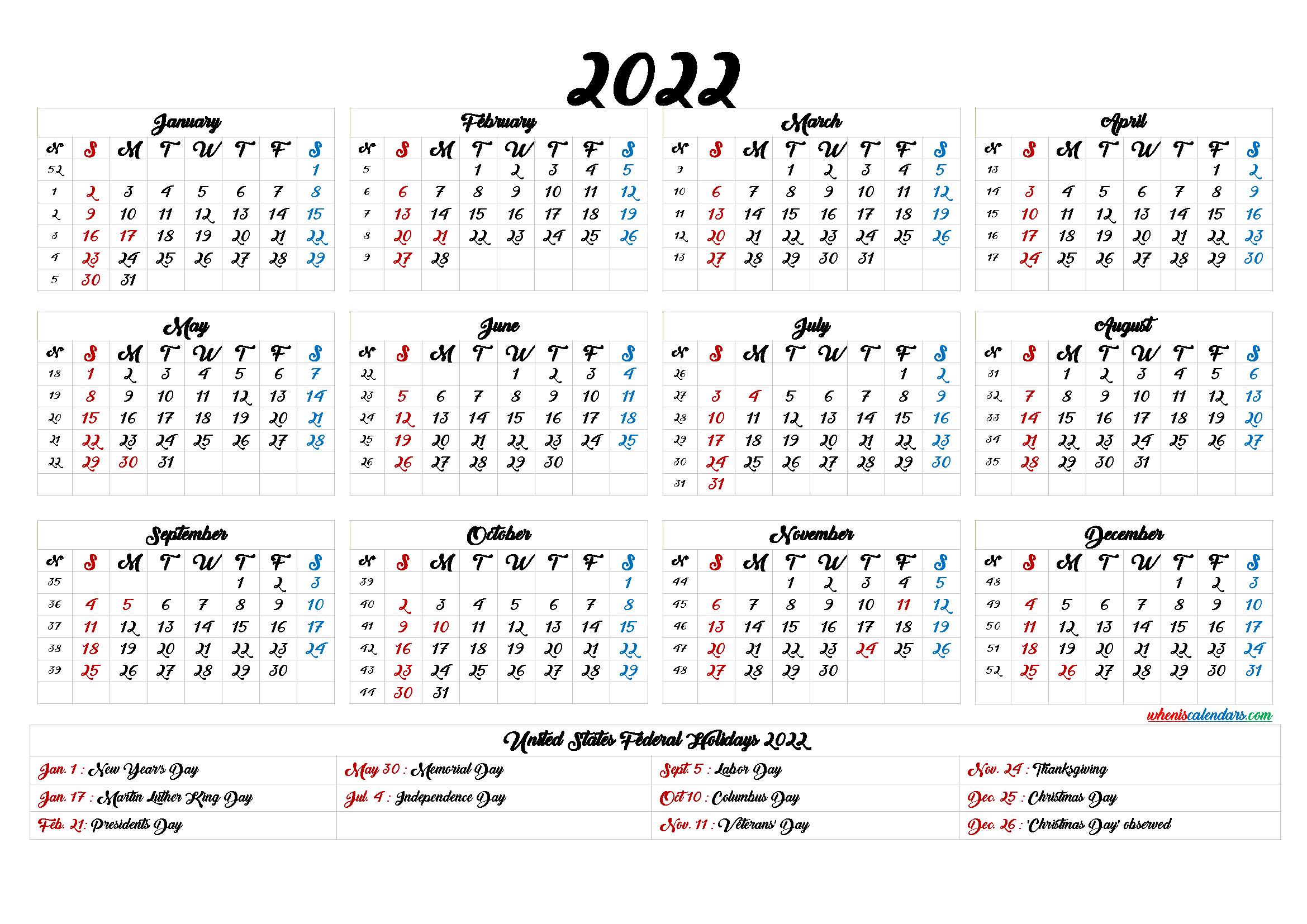 Printable 2022 Calendar With Holidays 6 Templates In 2020 Printable Numbers Templates Printable Free Holiday Calendar