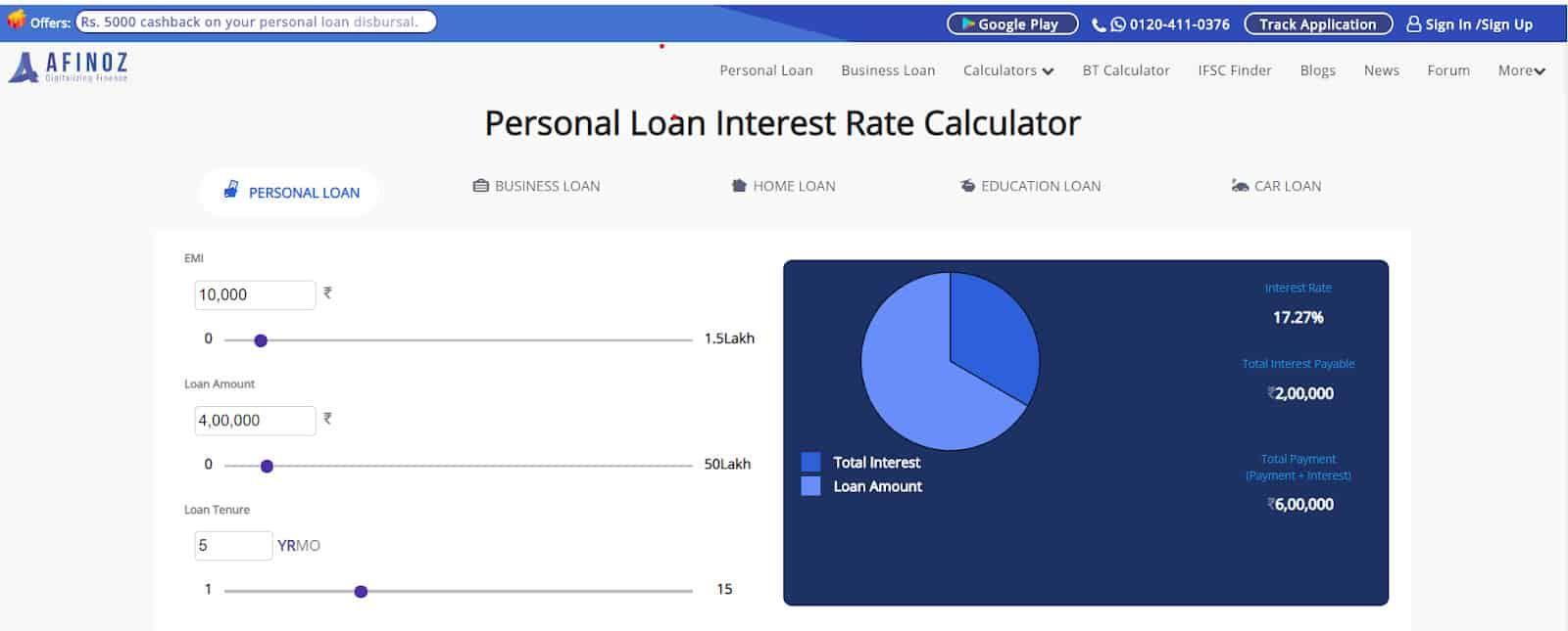 personal loan interest rate calculator
