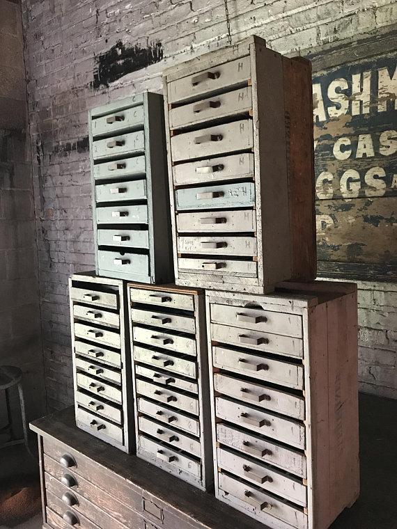 Vintage Furniture Repair Shop Wood Parts Cabinets Industrial Storage