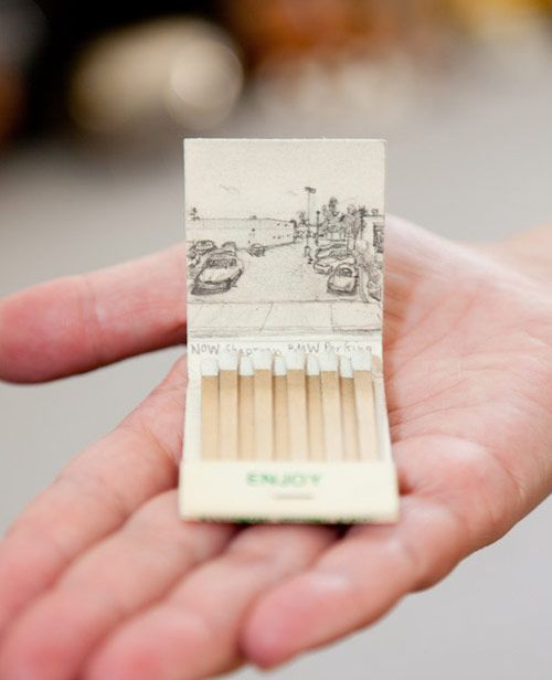 Graphite drawings on matchbooks based on various Google Street View photographs, by artist Krista Charles.