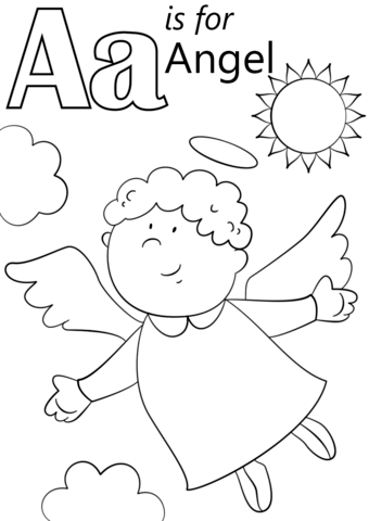 Letter A is for Angel coloring page from Letter A category
