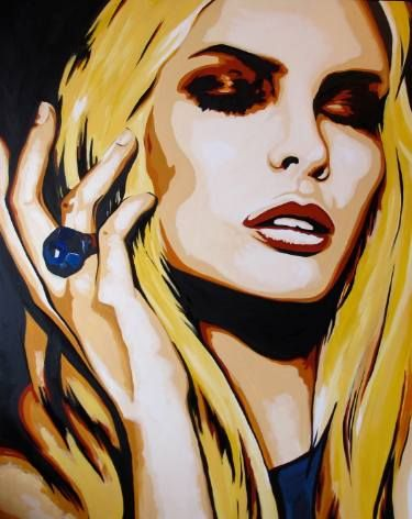 Buy Thank You, Cabernet, a Acrylic on Canvas by Valerie Carpender from United States. It portrays: Pop Culture/Celebrity, relevant to: beauty, red, yellow, face, orange Acrylic on Canvas