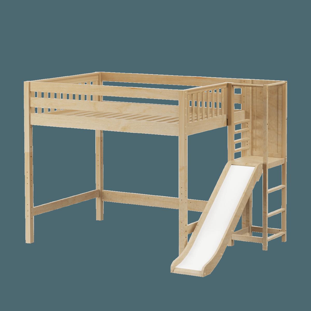 Full High Loft Bed With Slide Platform Bed With Slide Loft Bed