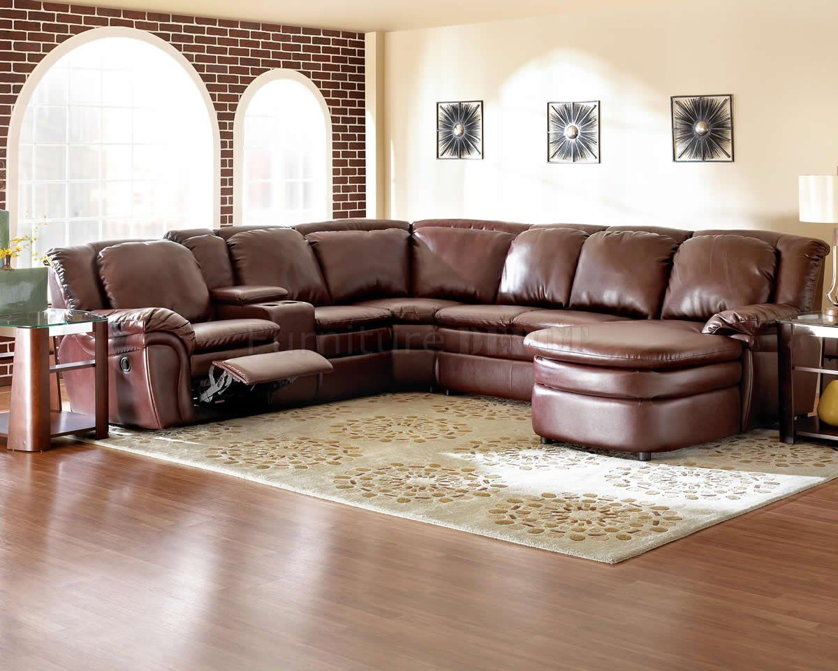 Leather Sectionals With Recliners Burgundy Bonded Reclining Sectional W Console Unit
