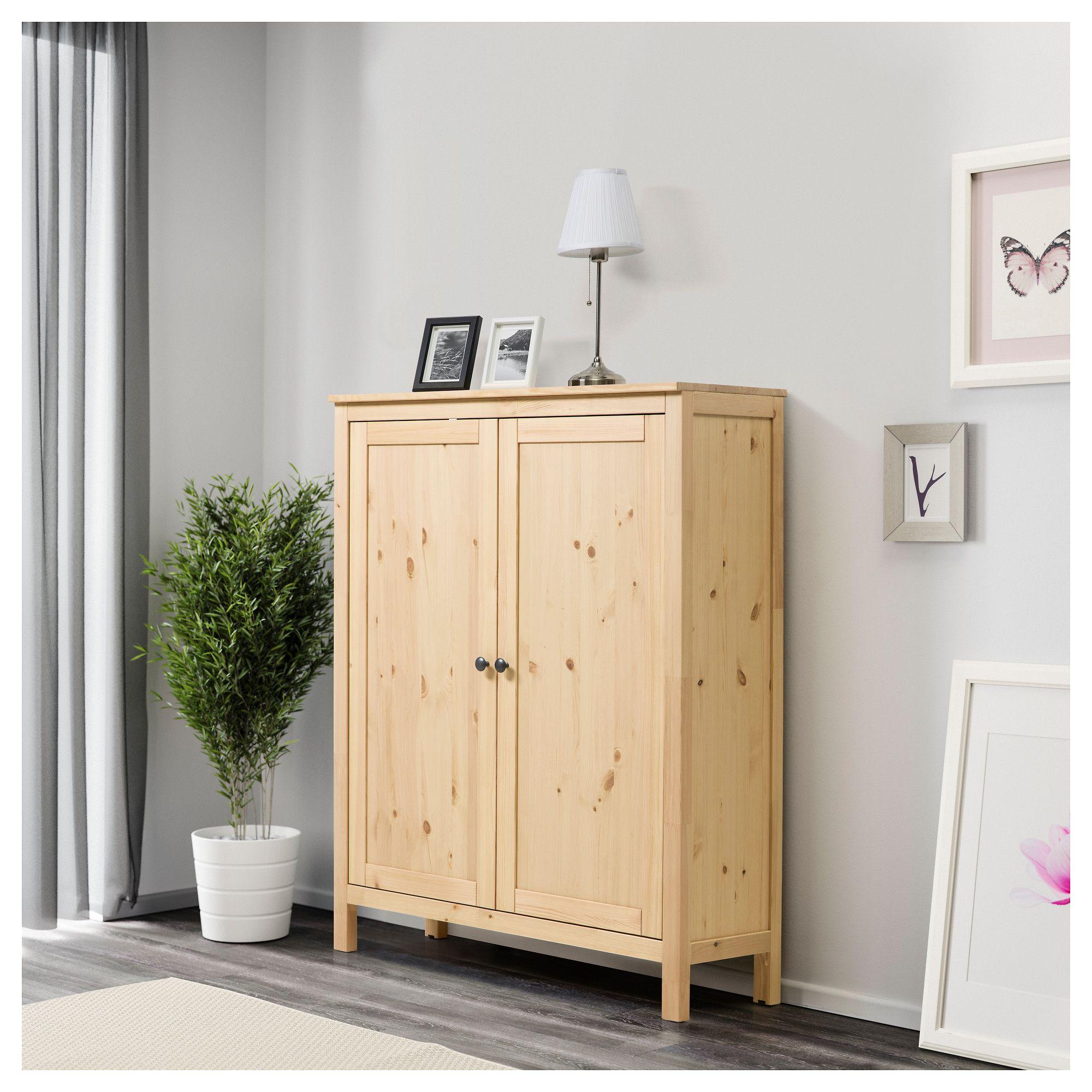IKEA   HEMNES, Cabiwith 2 doors, light brown, , Solid wood has