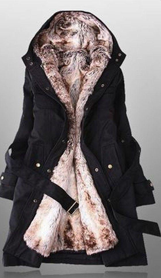 Black Plain Belt Hooded Fashion Dacron Padded Coat