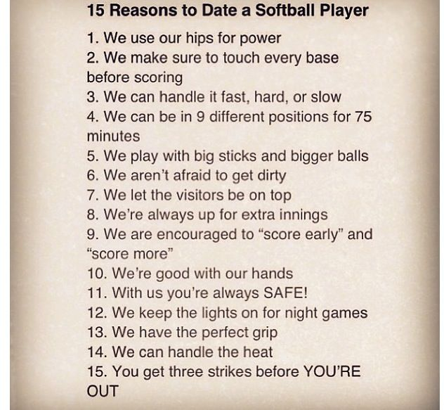 15 reasons to date a softball player | Humor | Pinterest ... 10 Reasons To Play Volleyball