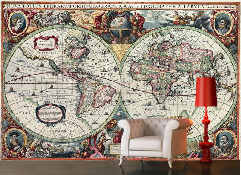 Vintageancient world map 16century decorating wallpaper mural art vintage ancient world map 16 century decorating wallpaper mural art 5 free delivery option gumiabroncs Gallery