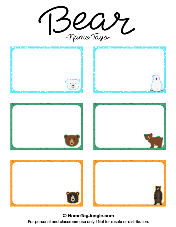 Free Printable Bear Name Tags The Template Can Also Be Used For - Sample name tag templates