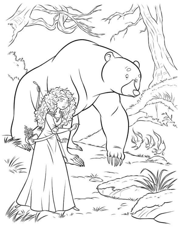 Kids N Fun Coloring Page Brave Merida Bear 2 Disney Coloring Pages Princess Coloring Pages Disney Princess Coloring Pages