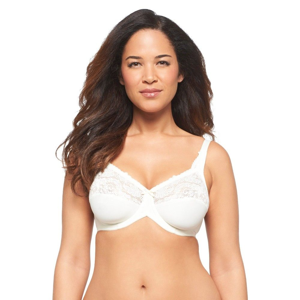 937837c50a Lilyette Women s Tailored Minimizer with Lace Trim Bra 0428 Pearl (White) -  40DDD