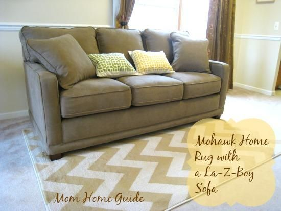 New Living Room With La Z Boy Sofa Diy Placemat Pillows And Chevron Mohawk Home Area Rug