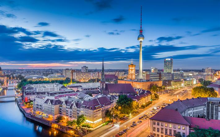 Download Wallpapers Berlin Evening 4k Berlin Tv Tower City Lights Cityscape Germany Besthqwallpapers Com Tower City Lights Tower City