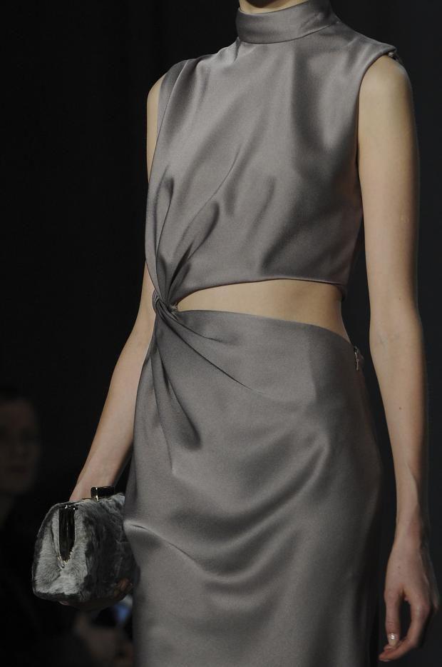Grey silk dress with cutout & twist at the waist; fashion details // Jason Wu AW14