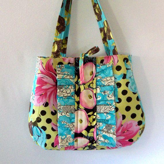 Ruffle Purse Fl Handbag Aqua Pink Flowers Chocolate Brown Polka Dot Shoulder Bag