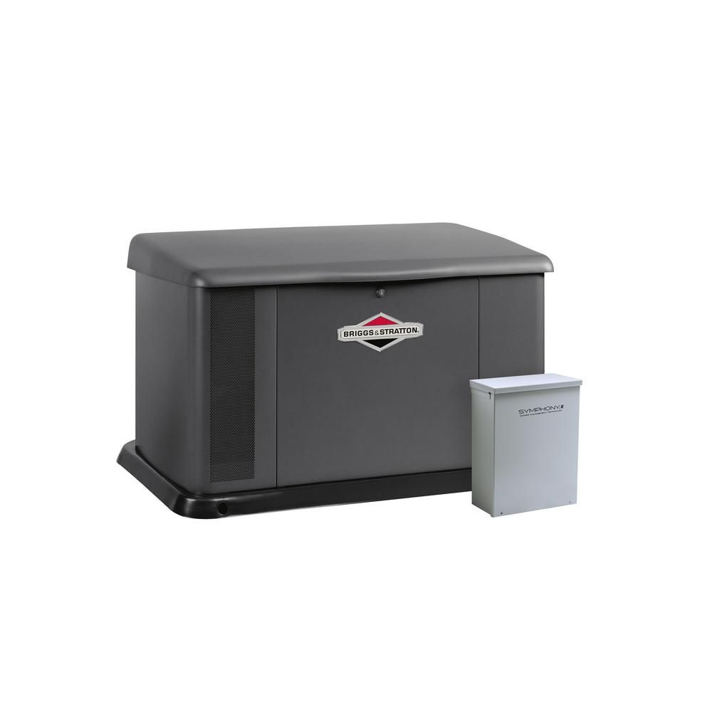 Briggs Stratton 17 000 Watt Air Cooled Home Standby Generator With 100 Amp Symphony Ii Transfer Switch 040554 Transfer Switch Sump Pump Home Goods