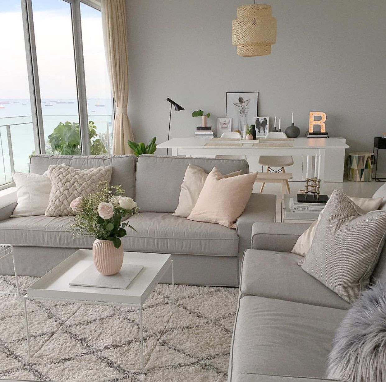Simple neutral color living room | Living room dining room ...
