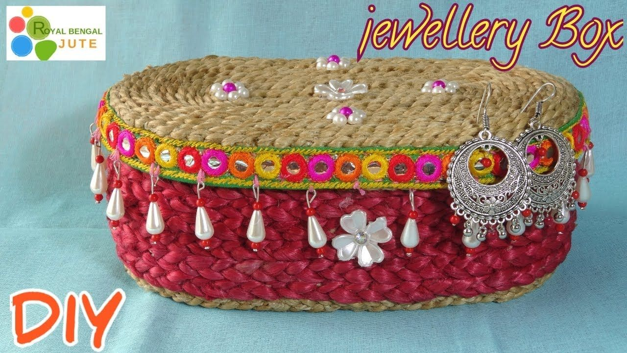 How To Make Jewellery Box With Jute Rope Best Out Of Jute Rope Diy Jewellery Organiser Youtube Rope Diy Jewelry Organizer Diy Rope Crafts