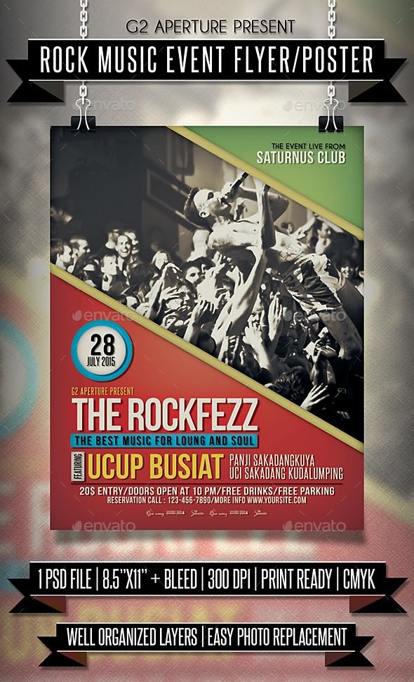 Rock Music Event Flyer / Poster Event flyers, Rock music and Psd